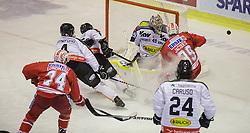 18.12.2015, Stadthalle, Klagenfurt, AUT, EBEL, EC KAC vs Dornbirner Eishockey Club, 32. Runde, im Bild Jamie Lundmark (EC KAC, #74), Nick Crawford (Dornbirner Eishockey Club, #4), Chris D'Alvise (Dornbirner Eishockey Club, #15), Florian Hardy (Dornbirner Eishockey Club, #49), Jean-François Jacques (EC KAC, #39), Michael Caruso (Dornbirner Eishockey Club, #24) // during the Erste Bank Eishockey League 32nd round match match betweeen EC KAC and Dornbirner Eishockey Club at the City Hall in Klagenfurt, Austria on 2015/12/18. EXPA Pictures © 2015, PhotoCredit: EXPA/ Gert Steinthaler