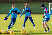 Olly Lee (#8) of Heart of Midlothian FC watches Andy Halliday (#16) of Heart of Midlothian FC during the Heart of Midlothian press conference and training session at Oriam Sports Performance Centre, Edinburgh, Scotland on 23 November 2020.