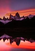 Cerro FitzRoy, sunset reflection, Los Glaciares National Park, Patagonia, Argentina.,