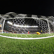 Lucas Leiva, Liverpool, wins the penalty shoot out for his sides as he beats Manchester City keeper Joe Hart during the Manchester City Vs Liverpool FC Guinness International Champions Cup match at Yankee Stadium, The Bronx, New York, USA. 30th July 2014. Photo Tim Clayton