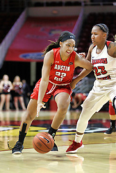 NORMAL, IL - December 04: Keisha Gregory defended by Viria Livingston during a college women's basketball game between the ISU Redbirds  and the Austin Peay Governors on December 04 2018 at Redbird Arena in Normal, IL. (Photo by Alan Look)