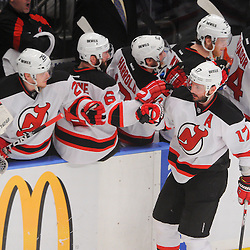 May 16, 2012: New Jersey Devils left wing Ilya Kovalchuk (17) celebrates his goal at the bench during first period action in game 2 of the NHL Eastern Conference Finals between the New Jersey Devils and New York Rangers at Madison Square Garden in New York, N.Y.