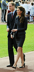 Britain's Prince William and Kate Middleton arrive at the Witton Country Park in Blackburn, Lancashire this afternoon, as they undertake their last joint official engagement before their wedding.