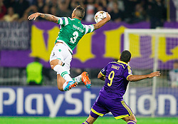 Maurício of Sporting plays with a hand during football match between NK Maribor and Sporting Lisbon (POR) in Group G of Group Stage of UEFA Champions League 2014/15, on September 17, 2014 in Stadium Ljudski vrt, Maribor, Slovenia. Photo by Vid Ponikvar  / Sportida.com