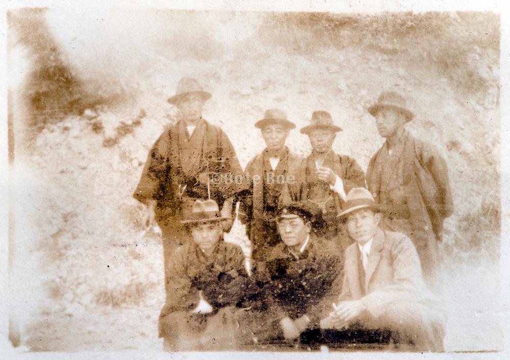 fading friends group portrait Japan ca 1930s