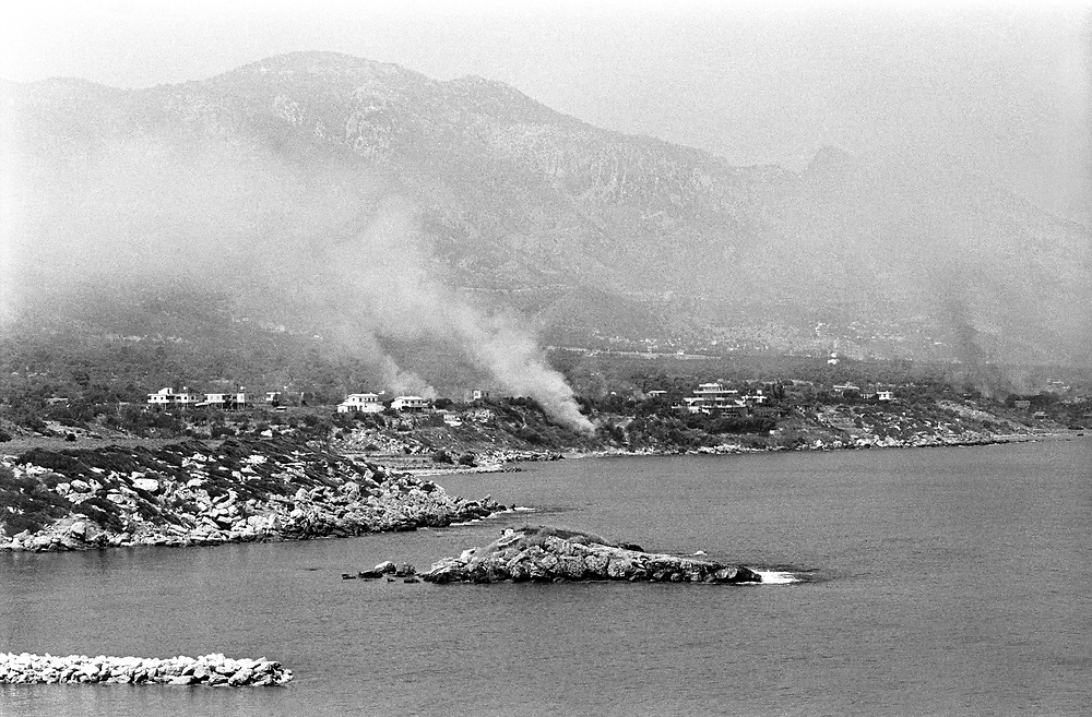 Cyprus War 20 July–18 August 1974. Turkish invasion of Cyprus code-name by Turkey, Operation Attila. Turkish airstrikes hit the northern Cyprus town of Kyrenia during the beach landings July 1974. Photo by Terry Fincher.