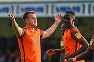 Southend United forward Simon Cox  (10) scores a goal (0-2) and celebrates during the EFL Sky Bet League 1 match between Gillingham and Southend United at the MEMS Priestfield Stadium, Gillingham, England on 13 October 2018.