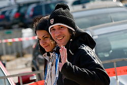 Primoz Peterka with his wife Renata during Flying Hill Individual Final Round at 4th day of FIS Ski Jumping World Cup Finals Planica 2011, on March 20, 2011, Planica, Slovenia. (Photo By Matic Klansek Velej / Sportida.com)