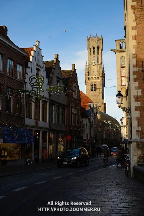 Belfort Tower (Belfry) And Brugge Old Town Street