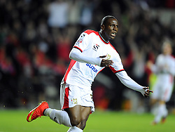 Milton Keynes Dons' Benik Afobe celebrates scoring his second and MK Dons fourth goal of the game - Photo mandatory by-line: Joe Meredith/JMP - Mobile: 07966 386802 26/08/2014 - SPORT - FOOTBALL - Milton Keynes - Stadium MK - Milton Keynes Dons v Manchester United - Capital One Cup