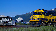 Alaska. View of the three forms of Alaskan transportation: cruise ships, trains and recreation vehicles, Whittier.