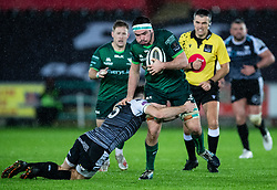 Paul Boyle of Connacht under pressure from Cai Evans of Ospreys<br /> <br /> Photographer Simon King/Replay Images<br /> <br /> Guinness PRO14 Round 6 - Ospreys v Connacht - Saturday 2nd November 2019 - Liberty Stadium - Swansea<br /> <br /> World Copyright © Replay Images . All rights reserved. info@replayimages.co.uk - http://replayimages.co.uk