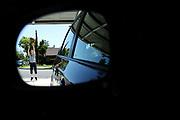Sean Mulcahy plays basketball in his front yard on April 14, 2020 in Van Nuys, California.