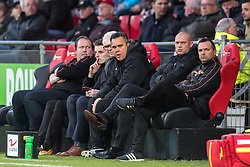 the staff of Fortuna Sittard (L-R) assistent trainer Sieb Dijkstra of Fortuna Sittard, assistent trainer Kevin Hofland of Fortuna Sittard, coach Claudio Braga of Fortuna Sittard during the Jupiler League match between Go Ahead Eagles and Fortuna Sittard at the Adelaarshorst Stadium on April 06, 2018 in Deventer, The Netherlands