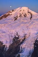 Mt. Baker, Aerial, Sunset, Moon, Verticle