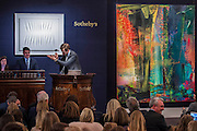 The hammer goes down onSotheby's sale of post-war and contemporary art - highlights include: a group of works from an Important Swedish Private Collection, including Lucio Fontana's rarely seen masterwork, Concetto Spaziale, Attese (1965) Estimate £5,000,000 — 7,000,000, and Robert Rauschenberg's Untitled (Small oil on canvas #4) (1963) Estimate £800,000 — 1,200,000; s a self- portrait diptych by Francis Bacon from 1977 Estimate £13,000,000 — 18,000,000; a monumental and mesmeric Abstraktes Bild by Gerhard Richter Estimate £14,000,000 — 20,000,000 (pictured right); and works by Cy Twombly, Nicolas de Staël, Yves Klein, Jean-Michel Basquiat and Andy Warhol.