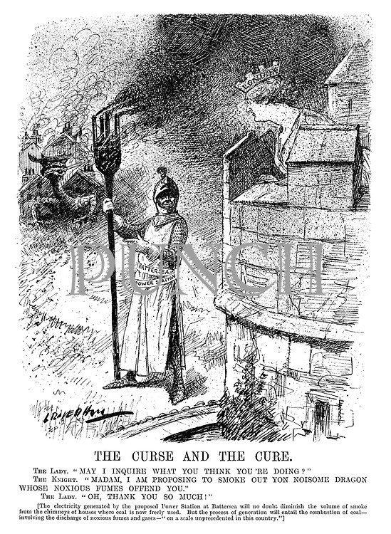 """The Curse and the Cure. The Lady. """"May I inquire what you think you're doing?"""" The Knight. """"Madam, I am proposing to smoke out yon noisome dragon whose noxious fumes offend you."""" The Lady. """"Oh, thank you so much!"""" [The electricity generated by the proposed power station at Battersea will no doubt diminish the volume of smoke from the chimneys of houses where coal is now freely used. But the process of generation will entail the combustion of coal - involving the discharge of noxious fumes and gases - on a scale unprecedented in this country.""""] (an InterWar cartoon showing a knight with his Battersea Power Station trident about to kill the dragon of pollution as London looks on from her castle)"""