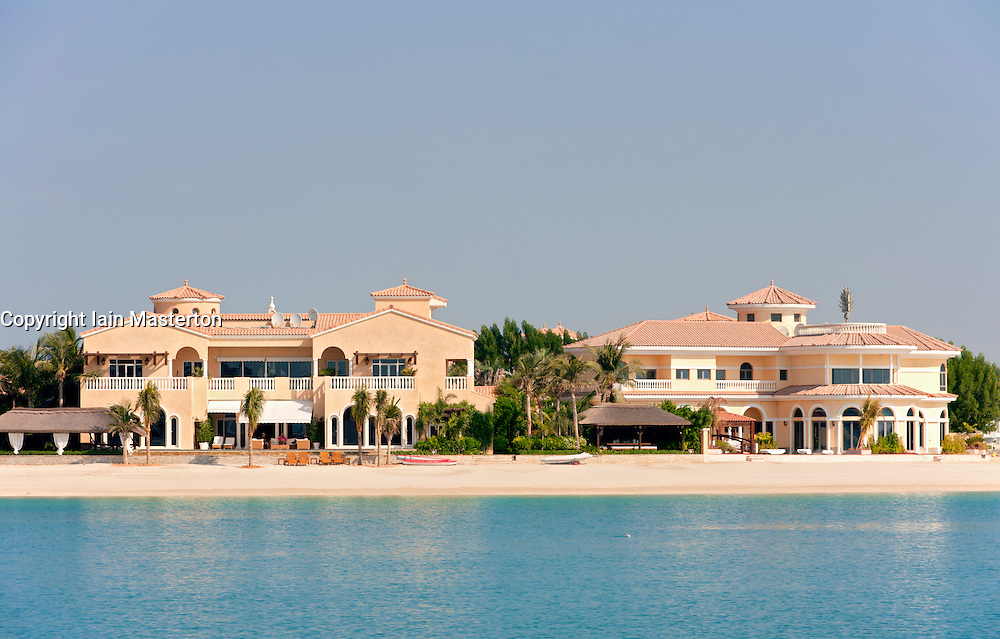 Villa residence located on frond of Palm Jumeirah in Dubai in United Arab Emirates