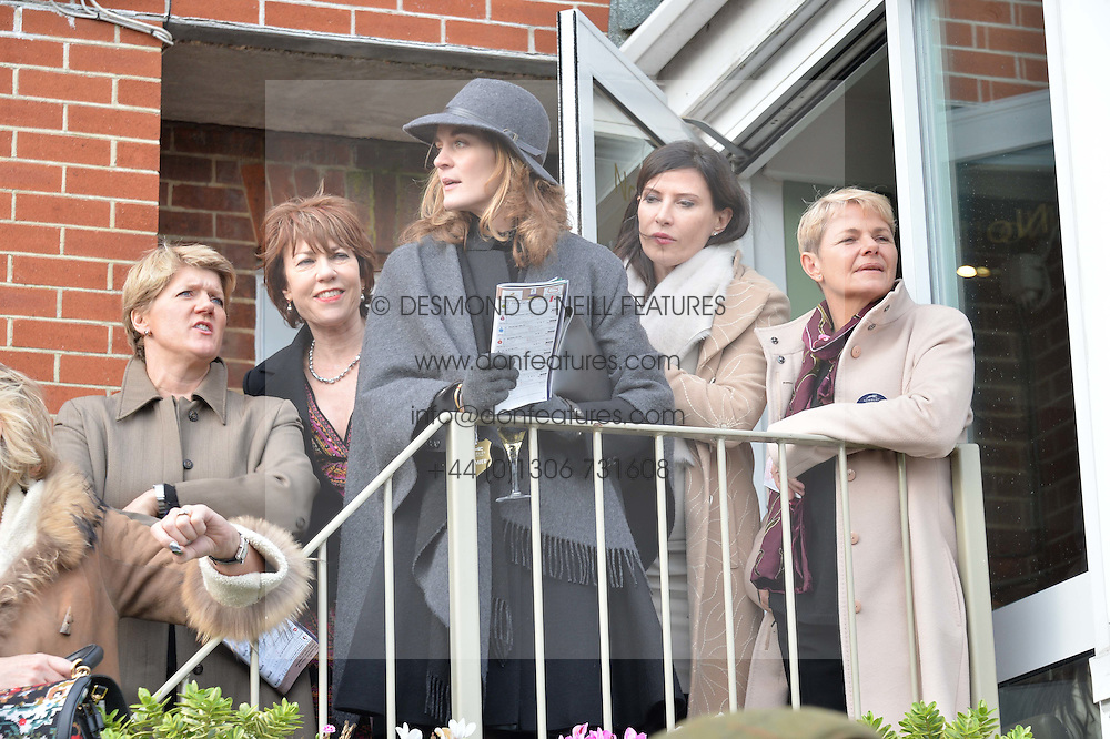 Left to right, CLARE BALDING, FELICITY BLUNT, RONNI ANCONA and EVE ARNOLD at the 2015 Hennessy Gold Cup held at Newbury Racecourse, Berkshire on 28th November 2015.