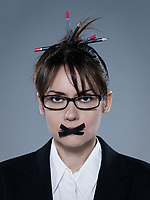 beautiful business woman with tape on lips on isolated bacground