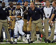 Rams head coach Scott Linehan (R) argues a pass interference call against St. Louis with official Don Carlson (L) in the second half against Seattle, at the Edward Jones Dome in St. Louis, Missouri, October 15, 2006.  The Seahawks beat the Rams 30-27.<br />
