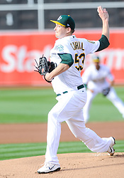 May 5, 2018 - Oakland, CA, U.S. - OAKLAND, CA - MAY 05: Oakland Athletics starting pitcher Trevor Cahill (53) during the regular season game between the Oakland Athletics and the Baltimore Orioles on May 5, 2018 at Oakland-Alameda County Coliseum in Oakland,CA (Photo by Samuel Stringer/Icon Sportswire) (Credit Image: © Samuel Stringer/Icon SMI via ZUMA Press)