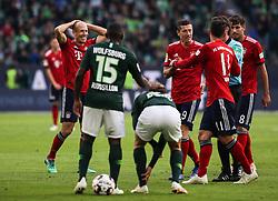 WOLFSBURG, Oct. 21, 2018  Bayern Munich's Arjen Robben (1st L) gets a red card during a German Bundesliga match between Wolfsburg and Bayern Munich, in Wolfsburg, Germany, on Oct. 20, 2018. Bayern Munich won 3-1. (Credit Image: © Xinhua via ZUMA Wire)