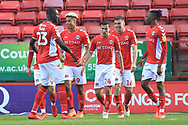 GOAL Ben Purrington is congratulated after Charlton's second goal 2-0 during the EFL Sky Bet League 1 match between Charlton Athletic and Rochdale at The Valley, London, England on 4 May 2019.