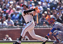 April 29, 2018 - San Francisco, CA, U.S. - SAN FRANCISCO, CA - APRIL 29: San Francisco Giants Third base Evan Longoria (10) connects for a three run home run durning the San Francisco Giants and Los Angeles Dodgers game at AT&T Park on April 29, 2018 in San Francisco, CA.  (Photo by Stephen Hopson/Icon Sportswire) (Credit Image: © Stephen Hopson/Icon SMI via ZUMA Press)
