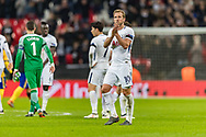 Tottenham Hotspur forward Harry Kane applauds the home fans after the Champions League match between Tottenham Hotspur and Juventus FC at Wembley Stadium, London, England on 7 March 2018. Picture by Toyin Oshodi.