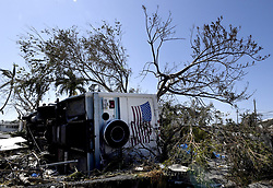 A completely destroyed RV, with all it's contents pilled up in a mound, is among the many destroyed RVs at the Sunshine Key RV Resort and Marina in Ohio Key, FL, USA, on Tuesday, September 12, 2017. Photo by Taimy Alvarez/Sun Sentinel/TNS/ABACAPRESS.COM