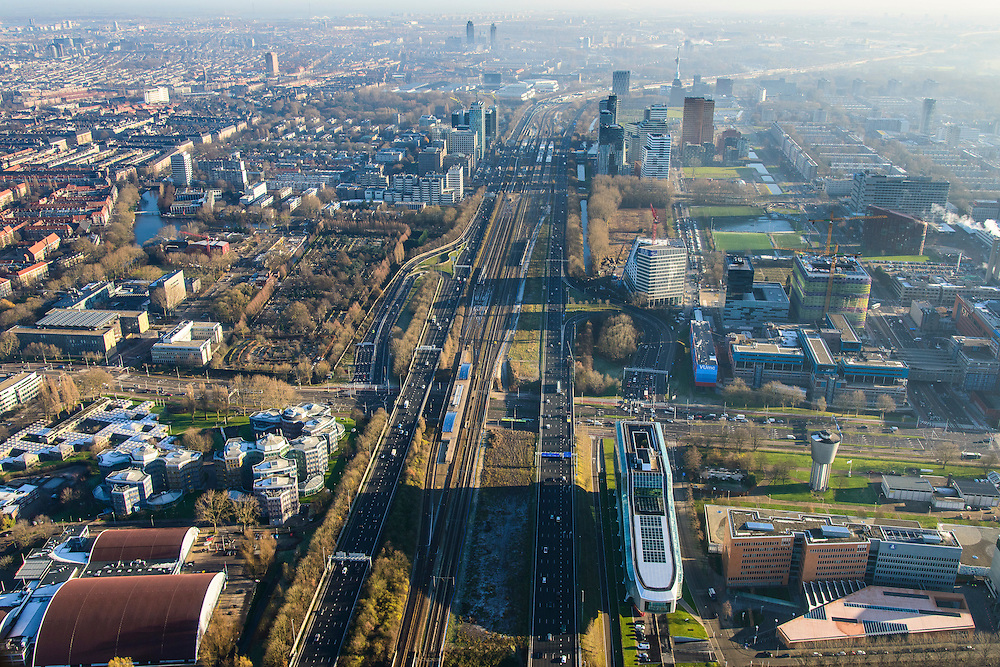 Nederland, Noord-Holland, Amsterdam, 11-12-2013; overzicht  Zuidas met ING_house in de voorgrond. Achter de ING de Amstelveenseweg en VUmc (re). Op het tweede plan Station Zuid-Wtc. Ringweg Zuid, A10.<br /> Zuid-as, 'South axis', financial center in the South of Amsterdam, with in the foreground headquarters of ING. Amsterdam equivalent of 'the City', financial district. <br /> luchtfoto (toeslag op standaard tarieven);<br /> aerial photo (additional fee required);<br /> copyright foto/photo Siebe Swart.