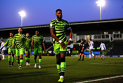 Jamille Matt of Forest Green Rovers celebrates his second goal after making it 2-0- Mandatory by-line: Nizaam Jones/JMP - 27/02/2021 - FOOTBALL - The innocent New Lawn Stadium - Nailsworth, England - Forest Green Rovers v Colchester United - Sky Bet League Two