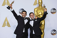 """88th Academy Awards press room.<br /> Best short film (Animated) winners Gabriel Osorio and Pato Escala for the film """"Bear Story."""""""