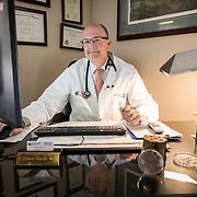 Dr. Hardy in his medical office, Novant Health, Culpeper, Virginia. For Novant Health.