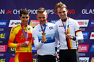Podium Time Trial Men 45,7 km Jonathan Castroviejo (Spain) silver medal , Victor Campenaerts (Belgium) gold medal and Maimilian Schachmann (Germany) bronze medal during the Road Cycling European Championships Glasgow 2018, in Glasgow City Centre and metropolitan areas Great Britain, Day 7, on August 8, 2018 - photo Luca Bettini / BettiniPhoto / ProSportsImages / DPPI<br /> - restriction - Netherlands out, Belgium out, Spain out, Italy out