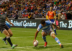 March 10, 2018 - Vancouver, British Columbia, U.S. - VANCOUVER, BC - MARCH 10: Conrado Roura (#3) of Argentina scores Argentina's lone try during Game # 22- Argentina vs England Pool B match at the Canada Sevens held March 10-11, 2018 in BC Place Stadium in Vancouver, BC. (Photo by Allan Hamilton/Icon Sportswire) (Credit Image: © Allan Hamilton/Icon SMI via ZUMA Press)