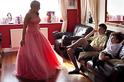 Claudia Gilchrist, 16,  is attending a traditional style prom with her boyfriend Steve Drake. A lot of effort is put into looking right for the night. Dresses have been planned all year and boyfriends are expected to wear matching ties. Here we see Claudia getting ready in preparation for the night at the local hotel in Sittingbourne, kent. <br /> In recent years American style prom nights to celebrate graduation from high School have been gaining popularity in the UK. These pictures are part of a set  commissioned for the Times magazine that  look at this teenage rite of passage across three schools in the UK.