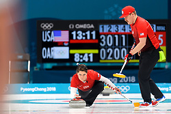February 8, 2018 - Pyeongchang, South Korea - BECCA HAMILTON and MATT HAMILTON of the USA during the round robin of the curling mixed doubles at the 2018 Winter Olympics in Pyeongchang. USA won 9:3.  (Credit Image: © Carl Sandin/Bildbyran via ZUMA Press)