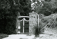 """1973 Entrance gate to Huntington Hartford's """"The Pines"""" in Runyon Canyon"""