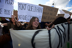 May 3, 2017 - Paris, France - Students demonstrate against the Front National (far-right) and Marine Le Pen. They also denounce people who want to abstain May 7th for the French presidential election. Marine Le Pen is present on the second round of the french presidential election. She is the candidate of the FN. Toulouse. France. May 3th 2017. (Credit Image: © Alain Pitton/NurPhoto via ZUMA Press)