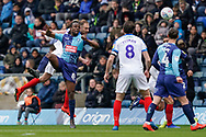 Oliver Hawkins of Portsmouth heads the ball during the EFL Sky Bet League 1 match between Wycombe Wanderers and Portsmouth at Adams Park, High Wycombe, England on 6 April 2019.