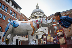 **CAPTION CORRECTION - Rhino statues are 750mm tall, not 750cm tall, as stated in previous captions**<br /> © Licensed to London News Pictures. 20/08/2018. LONDON, UK. Loredana Rivera, a tourist from Italy, views by 'Marjorie', a rhino painted by Eileen Cooper, in Paternoster Square.  At 750mm tall and weighing 300 kg, each rhino has been specially embellished by an internationally renowned artist.  21 rhinos are in place at a popular location in central London, forming the Tusk Rhino Trail, until World Rhino Day on 22 September to raise awareness of the severe threat of poaching to the species' survival.  They will then be auctioned by Christie's on 9 October to raise funds for the Tusk animal conservation charity.  Photo credit: Stephen Chung/LNP