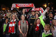 Liverpool fans celebrate after the final whistle. Premier League match, Crystal Palace v Liverpool at Selhurst Park in London on Saturday 29th October 2016.<br /> pic by John Patrick Fletcher, Andrew Orchard sports photography.