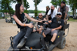 Pat Patterson and friends have a blast with a side-by-side at the Tennessee Motorcycles and Music Revival at Loretta Lynn's Ranch. Hurricane Mills, TN, USA. Saturday, May 22, 2021. Photography ©2021 Michael Lichter.