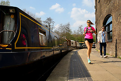 © Licensed to London News Pictures. 30/03/2019. London, UK. A jogger jogs during the warm spring sunshine along the Regents Canal as warm weather across the UK continues. Photo credit: Dinendra Haria/LNP