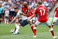 Olivier GIROUD of France, Mathias JORGENSEN and Jens STRYGER LARSEN of Denmark during the 2018 FIFA World Cup Russia, Group C football match between Denmark and France on June 26, 2018 at Luzhniki Stadium in Moscow, Russia - Photo Thiago Bernardes / FramePhoto / ProSportsImages / DPPI