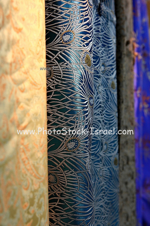 China, Beijing, Silk factory visitor Center, final woven and dyed product