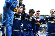 Peter Whittingham  of Cardiff city © celebrates with teammates after he scores his teams 2nd goal from a penalty to make it 2-1. Skybet football league championship match, Cardiff city v Bolton Wanderers at the Cardiff city Stadium in Cardiff, South Wales on Saturday 23rd April 2016.<br /> pic by Andrew Orchard, Andrew Orchard sports photography.