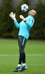 Chelsea goalkeeper Willy Caballero during the training session at Cobham Training Centre, Stoke d'Abernon.